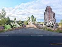 乡村入口标志石景观效果图