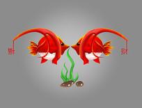 一对可爱卡通福财红色亲嘴鱼