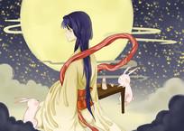 原创手绘漂亮美女思乡中秋节宣传海报插画