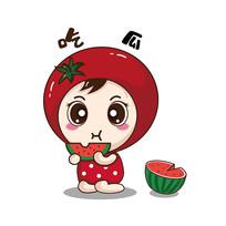 原创元素手绘番茄卡通表情吃瓜