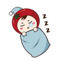原创元素手绘番茄卡通表情睡觉
