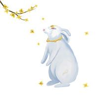 中秋玉兔高清手绘插画