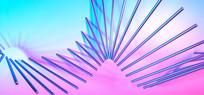 C4D炫彩抽象几何线条背景
