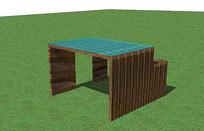 极简木质桌椅组合