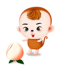 原创手绘可爱萌猴子桃子