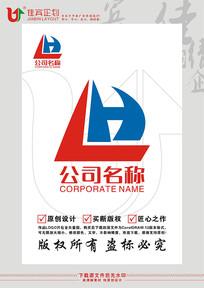 LH字母帆船图案LOGO设计