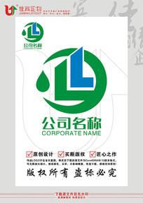 LY英文字母建筑水滴元素LOGO标志设计 CDR