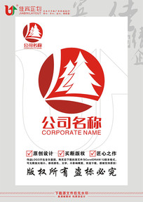 L森林林业红木家具LOGO标志设计