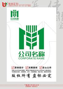 M英文字母麦穗标志设计