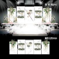 白色大理石纹主题婚礼效果色设计婚庆背景