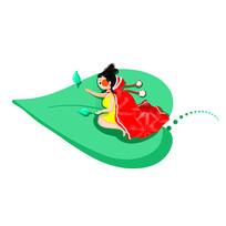 乘绿色叶片飞翔的女孩