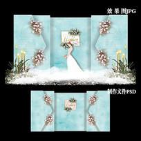 蒂芙尼蓝大理石纹婚礼效果图设计欧式婚庆