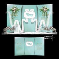 蒂芙尼蓝梦幻主题婚礼效果图设计婚庆背景