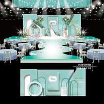 蒂芙尼蓝梦幻主题婚礼效果图设计婚庆舞台