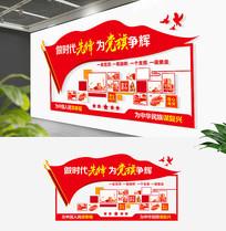 红色党员风采文化墙党建活动室照片墙