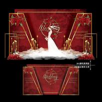 红色主题婚礼效果图设计大理石婚庆背景