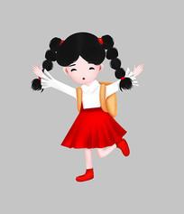 开学季背书包小女孩