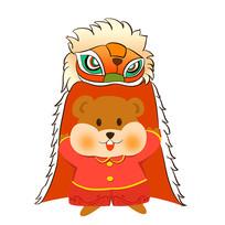 卡通可爱2020鼠年老鼠舞狮插画元素