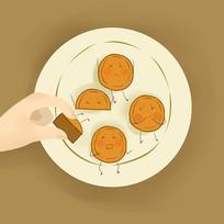 卡通可爱中秋节月饼吃月饼插画图