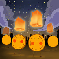 卡通可爱中秋节月饼放孔明灯插画图