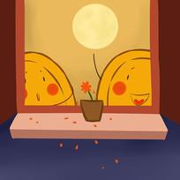 卡通可爱中秋节月饼欢聚插画图