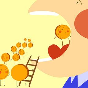 卡通可爱中秋节月饼上月亮插画图