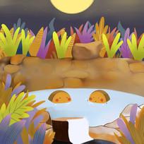 卡通可爱中秋节月饼夜景泡澡插画图
