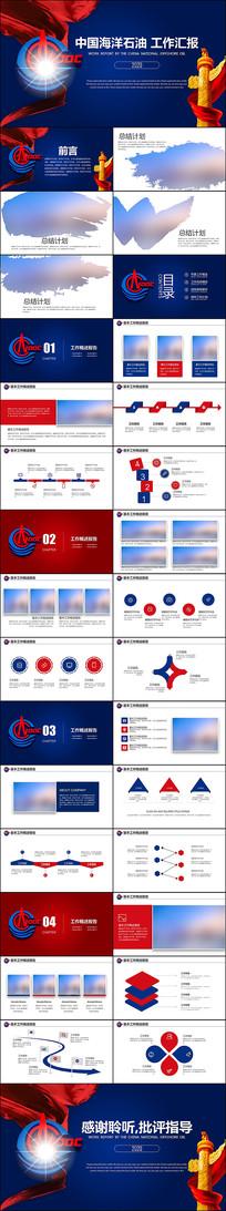 蓝色中国海洋石油总公司中海油PPT模板