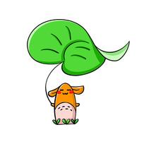 拿绿叶的可爱小动物
