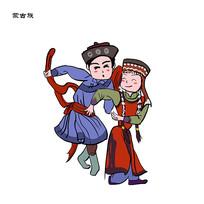 少数民族 56个民族蒙古族插画