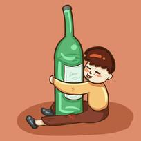 手绘创意抱着酒瓶喝酒人物插画