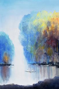 手绘水印江南水乡西湖风景油画无框画