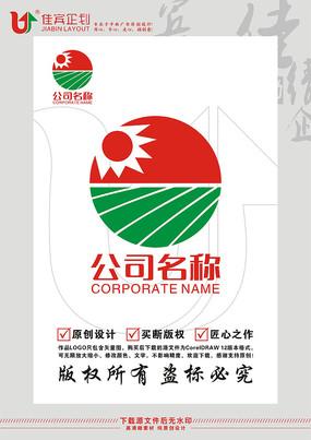 太阳稻田农业LOGO标志设计