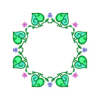 藤蔓叶片圆形边框