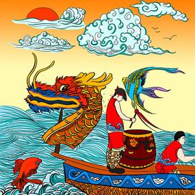原创手绘传统端午节龙舟比赛插画