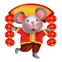 原创元素鼠年灯笼福鼠
