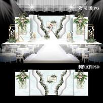 INS风小清新婚礼效果图设计婚庆舞台背景