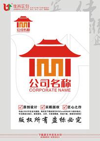 M英文字母宫殿故宫LOGO标志设计