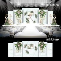 白绿色小清新主题婚礼效果图设计婚庆背景