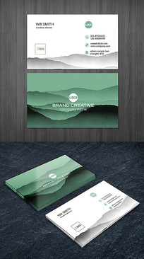 抽象水墨绿色名片设计