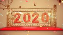 金色2020新年元旦创意展板字体设计
