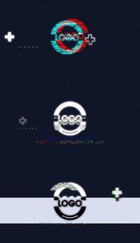 酷炫故障快速标志Logo片头pr模板