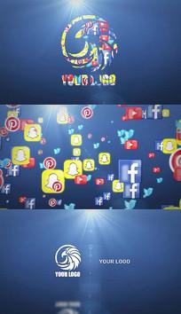 社交媒体徽标汇聚logo片头pr模板