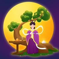 中秋节嫦娥手绘插画