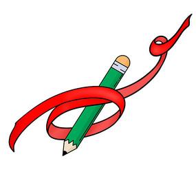红色丝带缠绕的铅笔