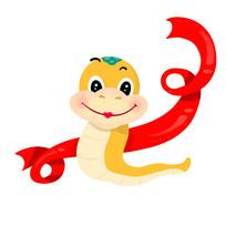 红丝带飘动的金色小蛇