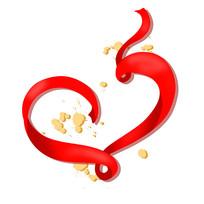 金色装饰的红色心形丝带