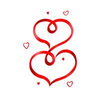 丝带缠绕成的红心