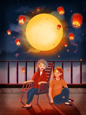 原创插画月亮下女孩陪伴母亲中秋唯美海报