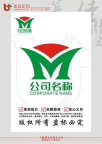 M英文字母太阳LOGO标志设计